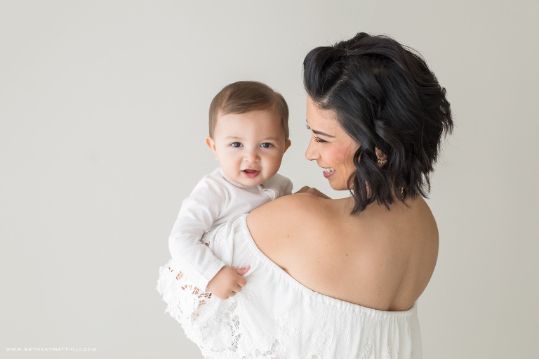 Simple Studio Mommy and Me Session   Bay Area Baby Photography in Studio   Bethany Mattioli Photography