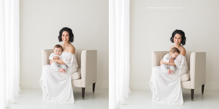 Simple All White Studio Baby Session | Bay Area Baby Photography in Studio | Bethany Mattioli Photography