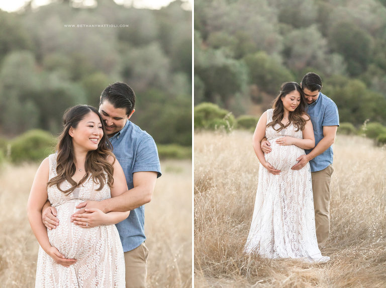Maternity Couple Outdoor Photo Session in Field  | Bay Area Pregnancy Photography  | Bethany Mattioli Photography