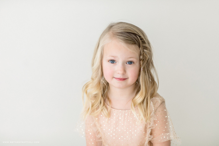 Five Year Blond Girl with Side Braid | Bay Area Children Photographer | Bethany Mattioli Photography