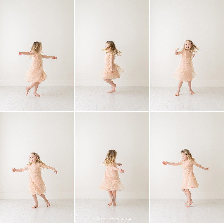 Twirling Five Year Girl | Bay Area Children Photographer | Bethany Mattioli Photography