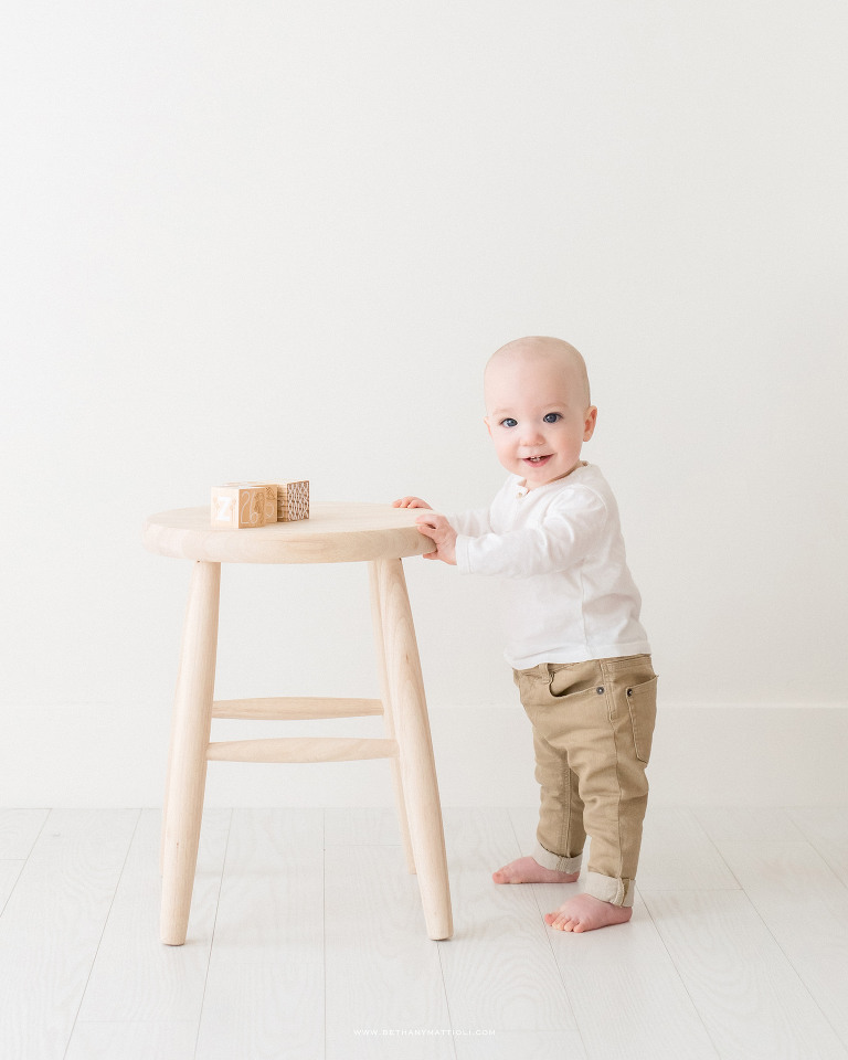 Eleven Months Baby Standing Photo | Bay Area Baby Photographer | Bethany Mattioli Photography