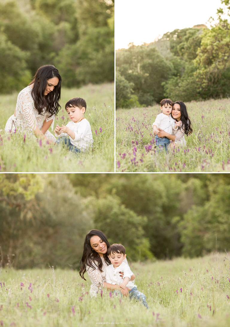 Mother and Son Playing in Springtime Wildflowers | Bay Area Mommy and Me Photographer | Bethany Mattioli Photography