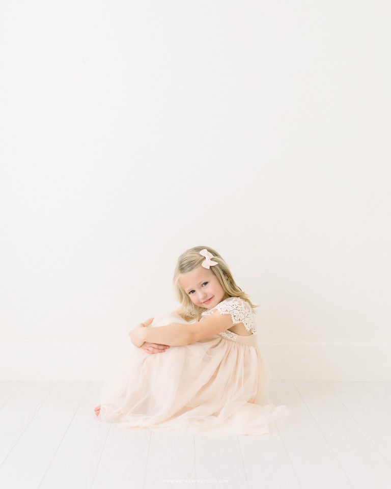 Six Year Old Girl Sitting in Studio Birthday Photo | Bay Area Children Photographer | Bethany Mattioli Photography