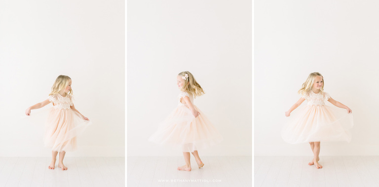 Six Year Old Girl Twirling | Bay Area Children Photographer | Bethany Mattioli Photography
