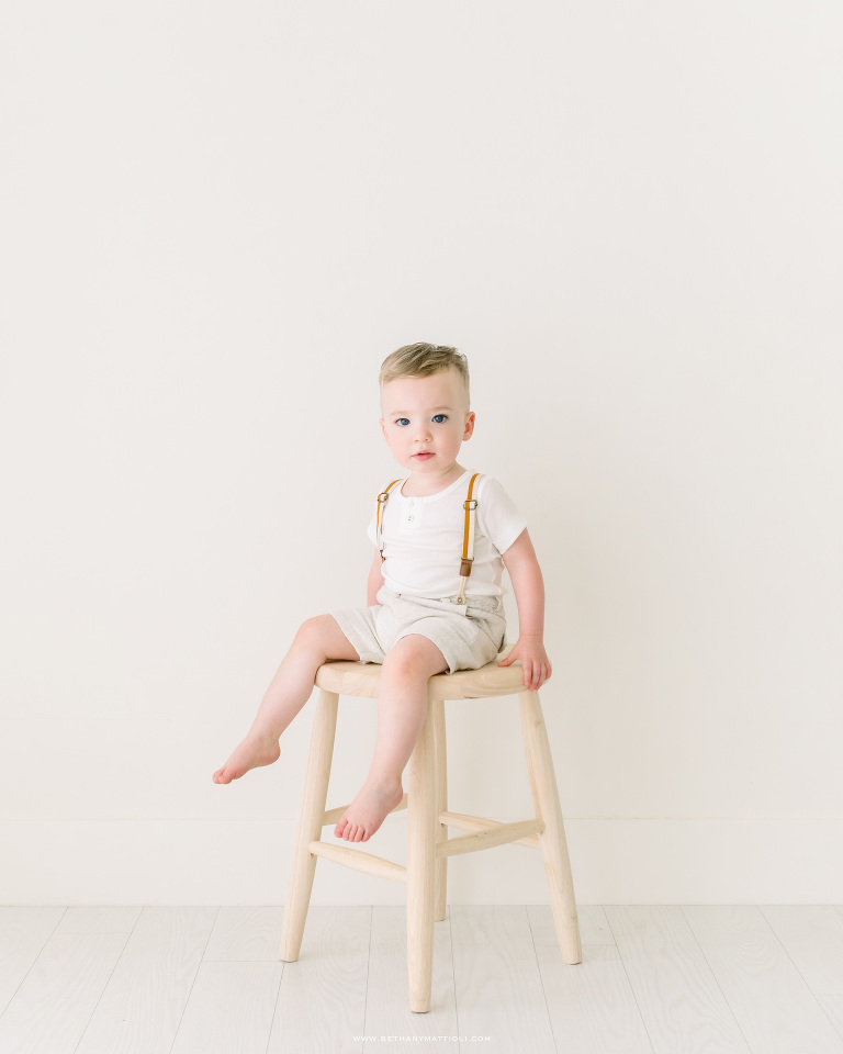Two Year Old Boy Sitting on Stool | Bay Area Children Photography