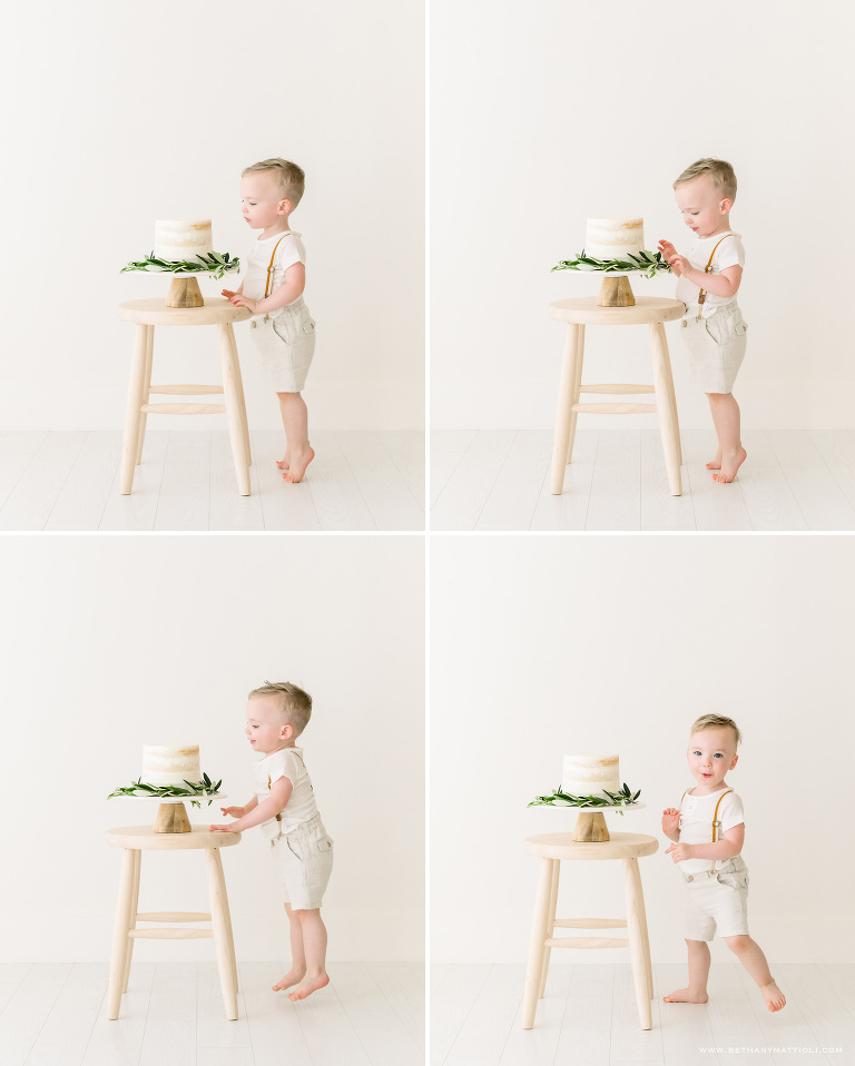 Second Birthday Boy Cake Smash Photos in simple white studio